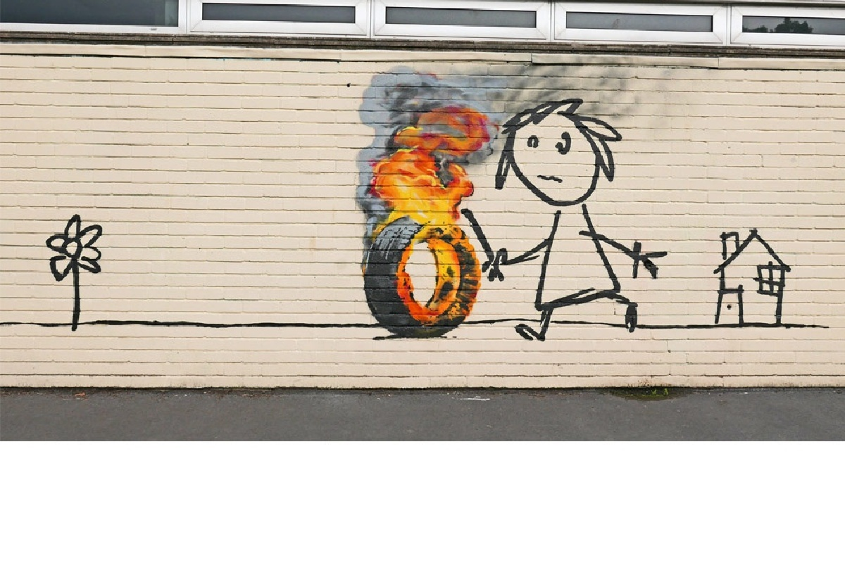 Banksy mural appears in school playground.
